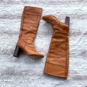 Chloe Whipstitch Leather Patchwork Cognac Boots